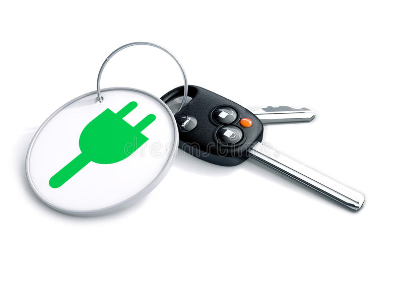 Set of car keys with keyring and electric power icon. Set of car keys with keyring and electric power icon on it. Concept for converting consumers to using vector illustration