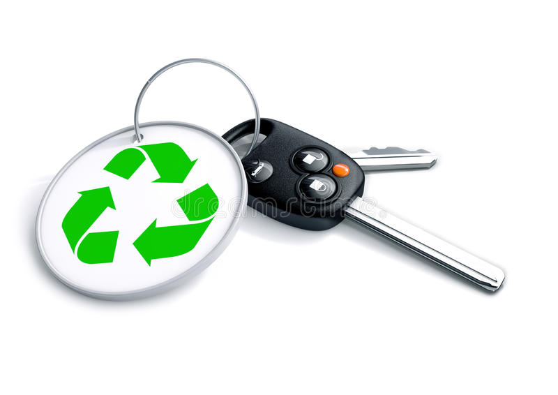 Set of car keys with keyring and recycle symbol. Concept for rec. Ycling of vehicles or creation of hybrid clean energy and green powered transportation and cars vector illustration