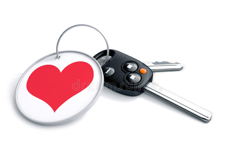 Set of car keys with keyring and red heart icon. Concept for how. People love the car they drive and become emotionally attached and fanatical over their stock illustration