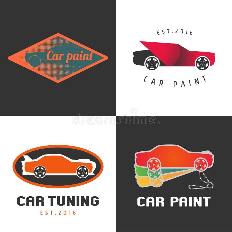 Set of car paint, car parts vector icon, symbol, sign, logo, emblem stock illustration