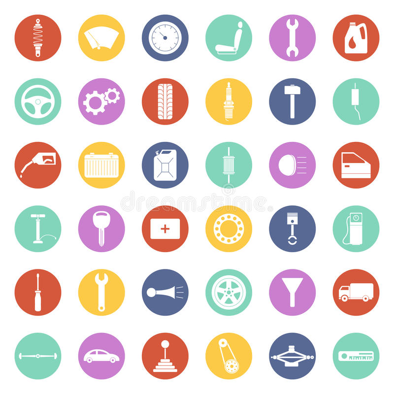 Set of car parts icons stock illustration