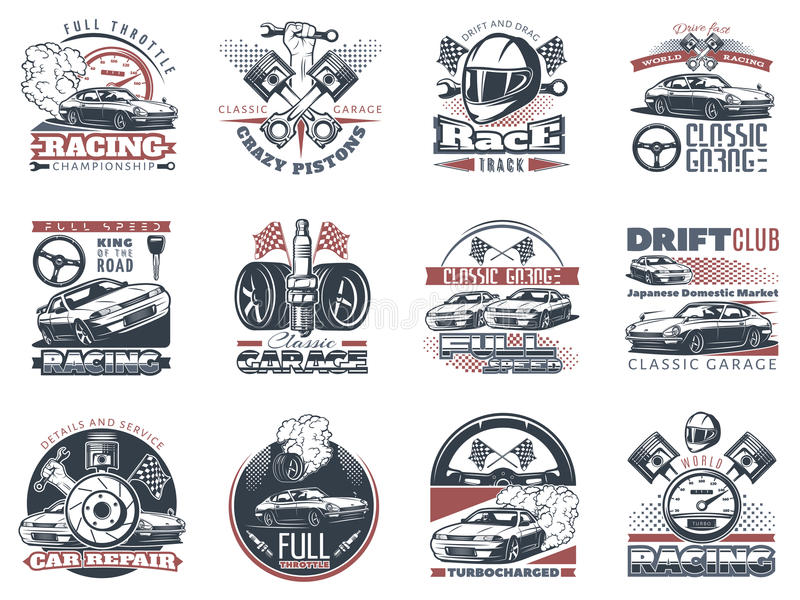 Set of car racing colored emblems, labels, logos and championship race badges with descriptions of classic garage, drift club royalty free illustration