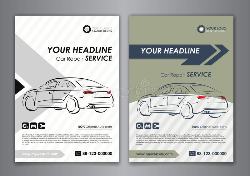 A5, A4 Set Car Repair Service Business Card Templates. Auto Repair ...