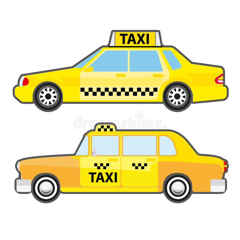 Set of car taxi service, side view. Yellow vehicle transport cab for city. Modern and retro urban public transport. Vector illustration isolated on white royalty free illustration
