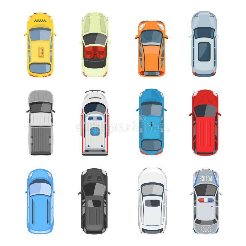 Set of car top view vector set royalty free illustration