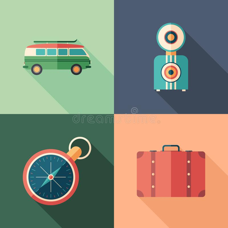 Set of car trip flat square icons with long shadows. royalty free illustration