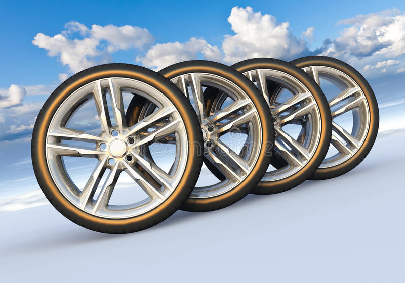 Set of car wheels in snowy landscape royalty free illustration