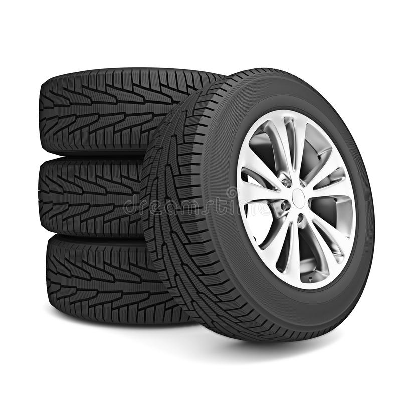 Download Set Of Car Winter Tires Isolated Royalty Free Stock Photography - Image: 35538127