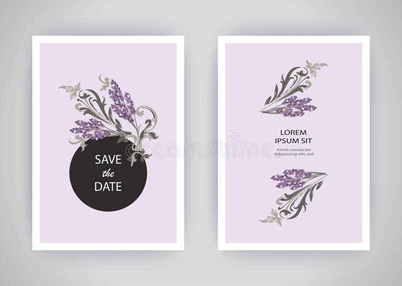 Set of card with flower lavender, leaves. Wedding ornament concept. Floral trendy poster, invite. Vector decorative greeting card. Or invitation design vector illustration