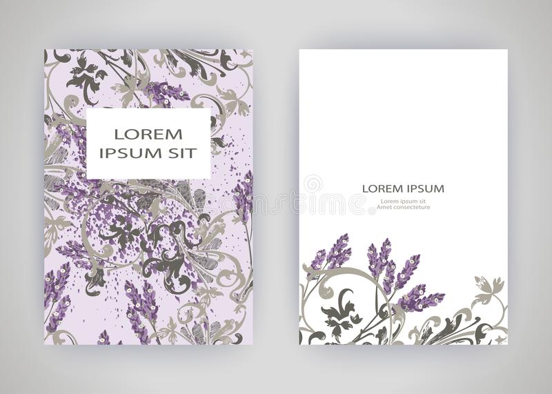 Set of card with flower lavender, leaves. Wedding ornament concept. Floral trendy poster, invite. Vector decorative greeting card. Or invitation design royalty free illustration
