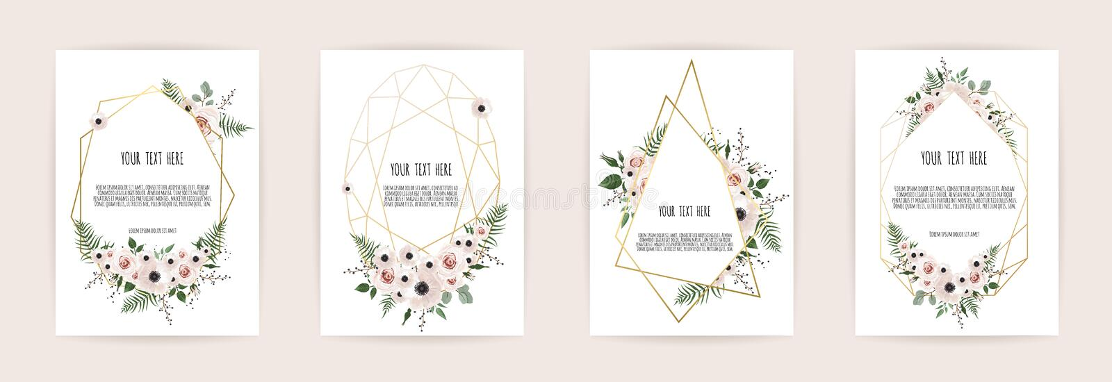 Set of card with flower rose, leaves and geometrical frame. Wedding ornament concept. Floral poster, invite. Vector royalty free illustration