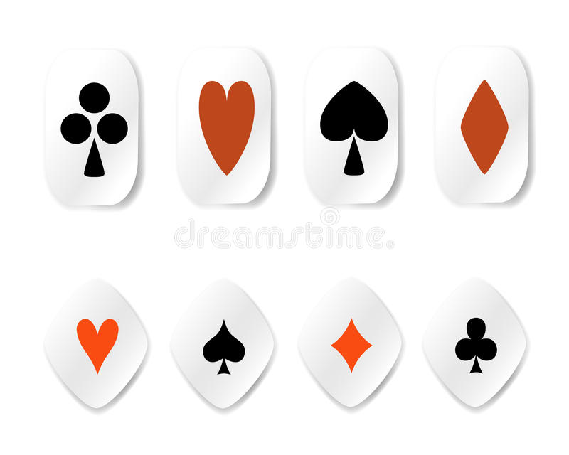 Set Of Card Suit Stickers Royalty Free Stock Image