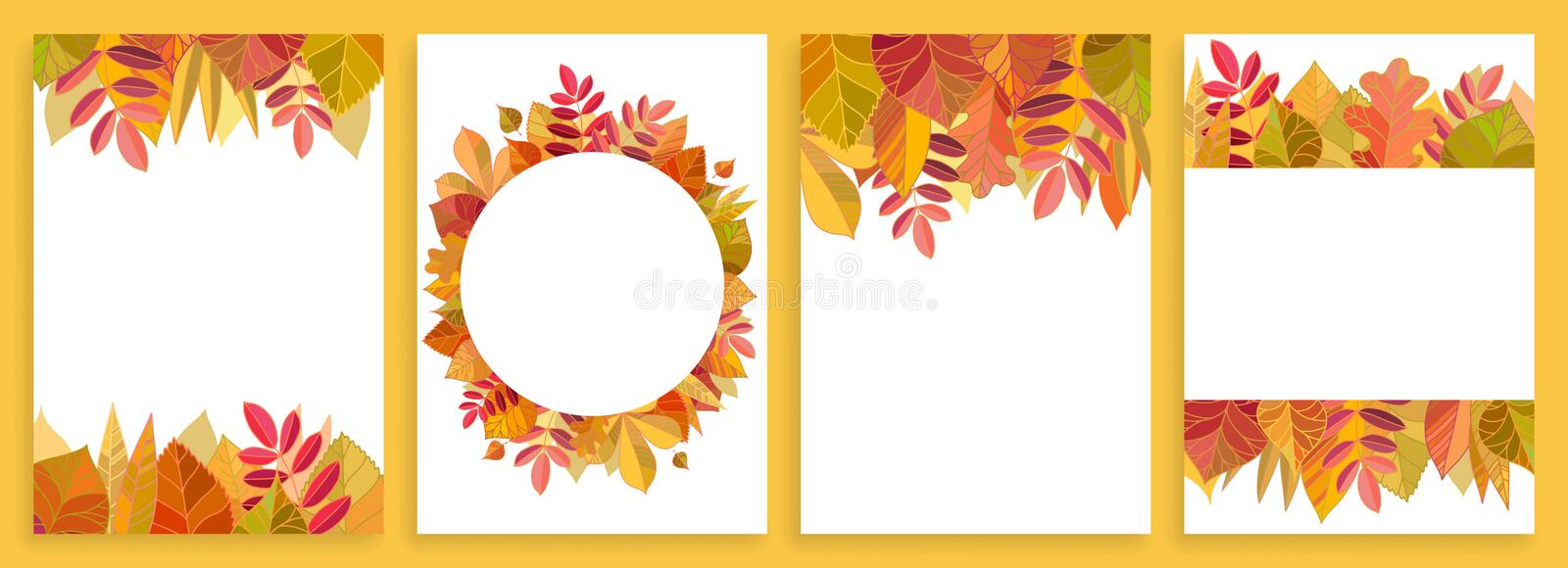 Set of card templates with autumn leaves. stock illustration