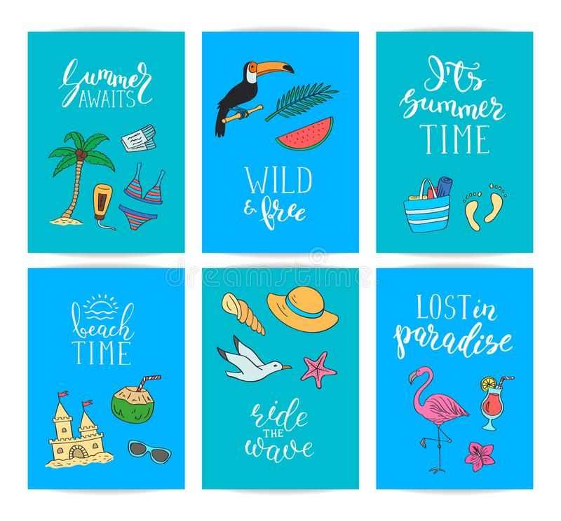 Set of card templates or flyers with lettering and hand drawn colored beach objects. Vector summer travel doodle stock illustration