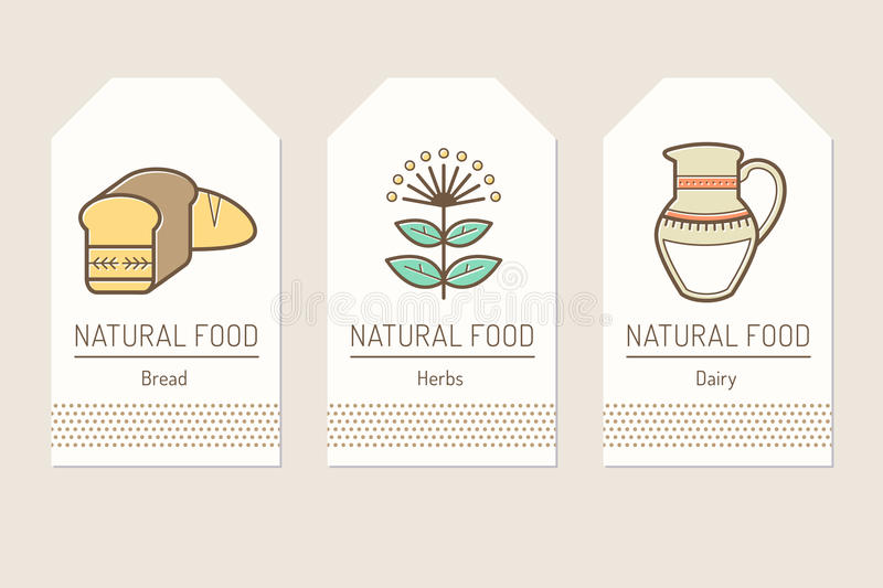 Set of card templates with outlined natural food signs. Bread, herbs, dayry products. Colorful minimalist tag layout. Linear design for business royalty free illustration