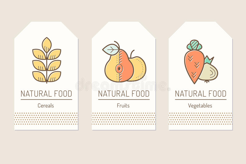 Set of card templates with outlined plant food signs. Cereals, fruits, vegetables. Colorful minimalist tag layout. Linear design for agricultural business stock illustration