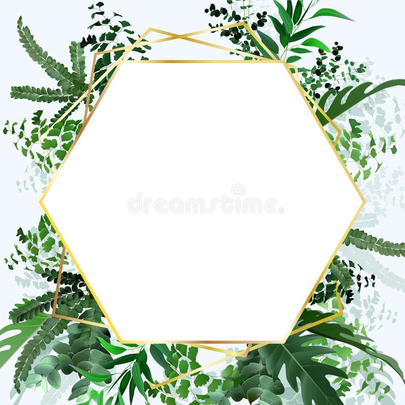 Set of card with tropical leaves. Wedding ornament concept. Floral poster, invite.eucalyptus, fern, monstera vector illustration