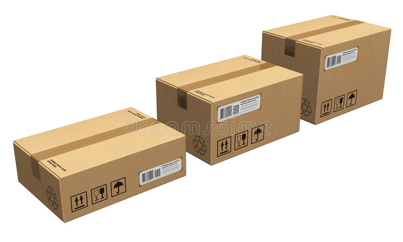 Set of cardboard boxes. Set of different size cardboard boxes isolated on white background stock illustration