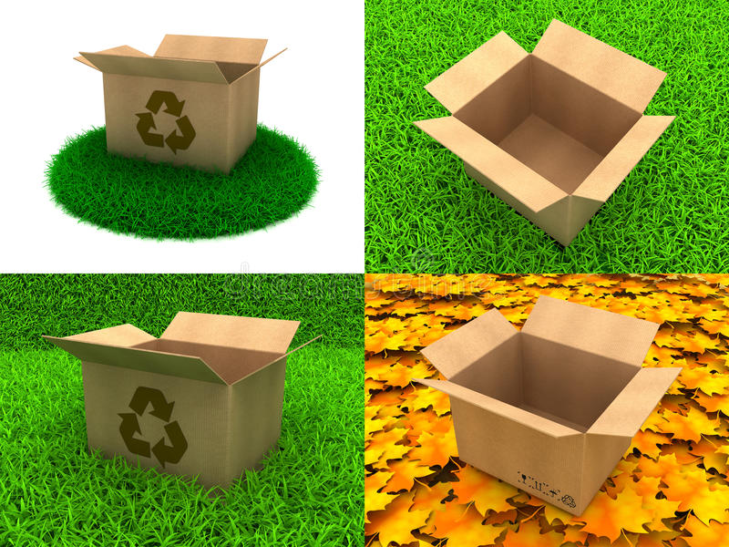 Set of Cardboard Boxes on The Grass Background royalty free illustration