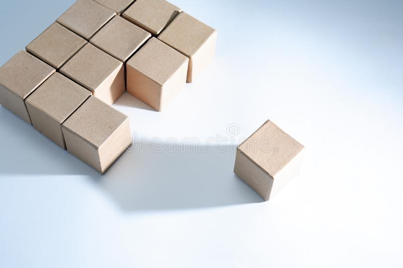 Set Of Cubes. Set of cardboard cubes on white background with light and shadows royalty free stock images