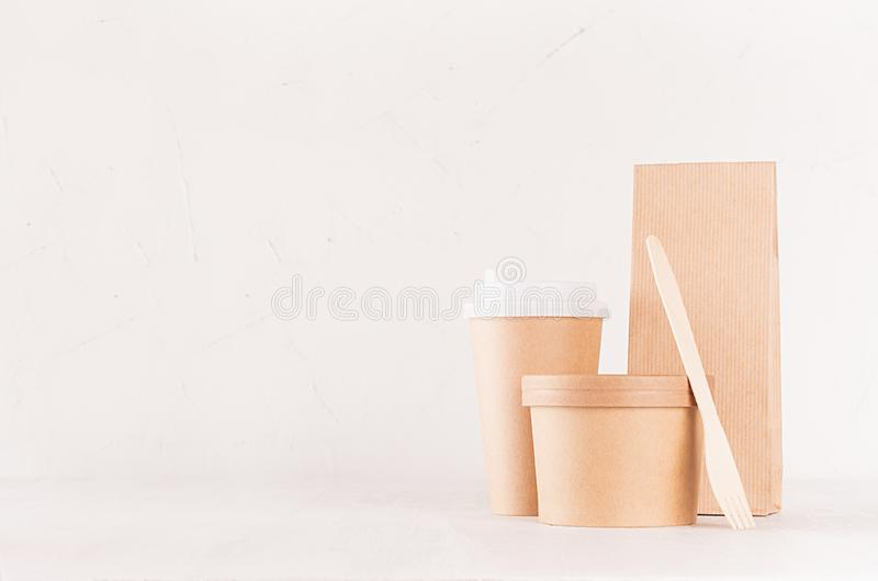 Set of cardboard package for different fast food for advertising, menu, banding identity - blank bowl for soup or ice cream, drink stock photography