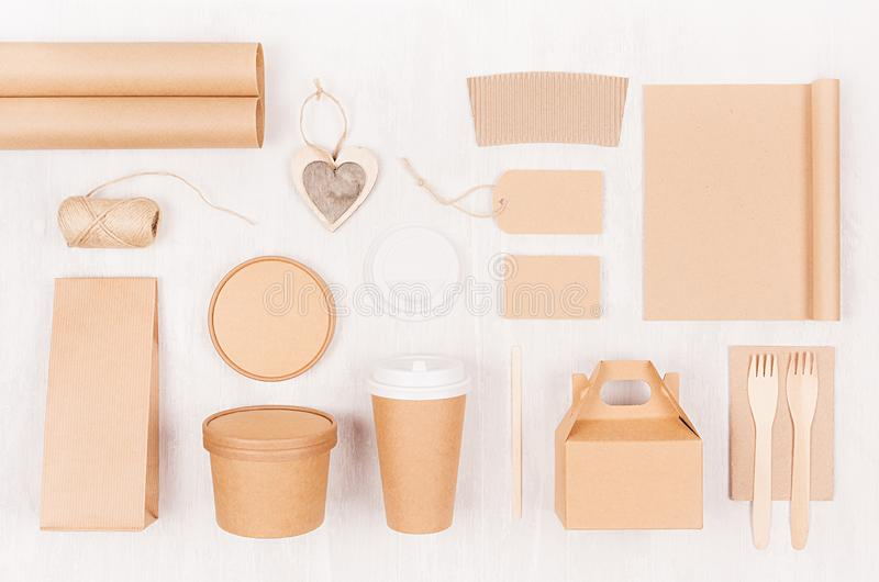 Set of cardboard package for different fast food for advertising, menu, banding identity - card, label, cup, box, packet, cutlery. royalty free stock image