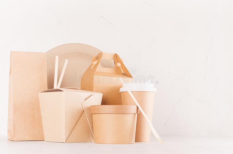 Set of cardboard package for different fast food for advertising, menu, banding identity - container, box, bowl for soup. royalty free stock image