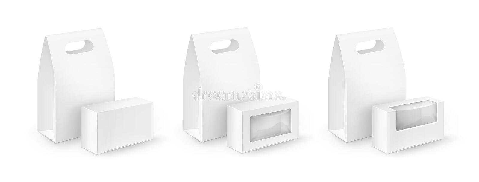 Set of Cardboard Rectangle Take Away Handle Lunch Boxes Packaging. Vector Set of White Blank Cardboard Rectangle Take Away Handle Lunch Boxes Packaging For stock illustration