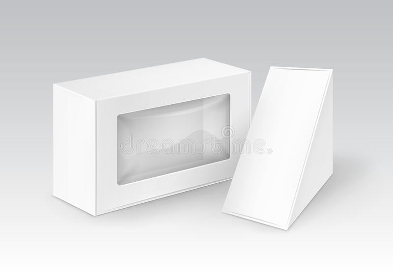 Set of Cardboard Take Away Boxes Packaging For Sandwich, Food, Gift, Other Products with Plastic Window Mock up Close up. Vector Set of White Blank Cardboard stock illustration