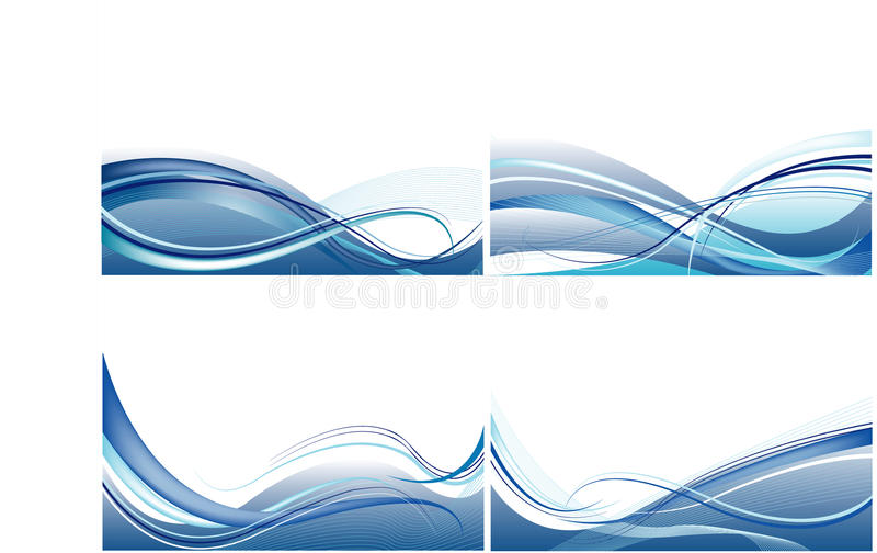 Set of cards with abstract blue vector stock illustration
