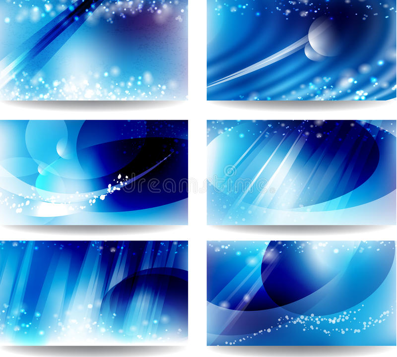 Set cards with a blue background stock illustration