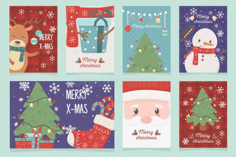 Set of cards celebration happy christmas. Vector illustration stock illustration