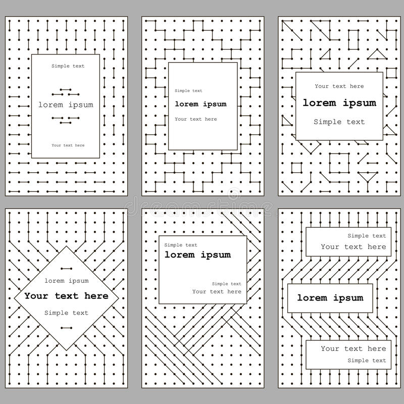 A set of cards for the cover and leaflets. Black-and-white. The form of lines and dots vector illustration