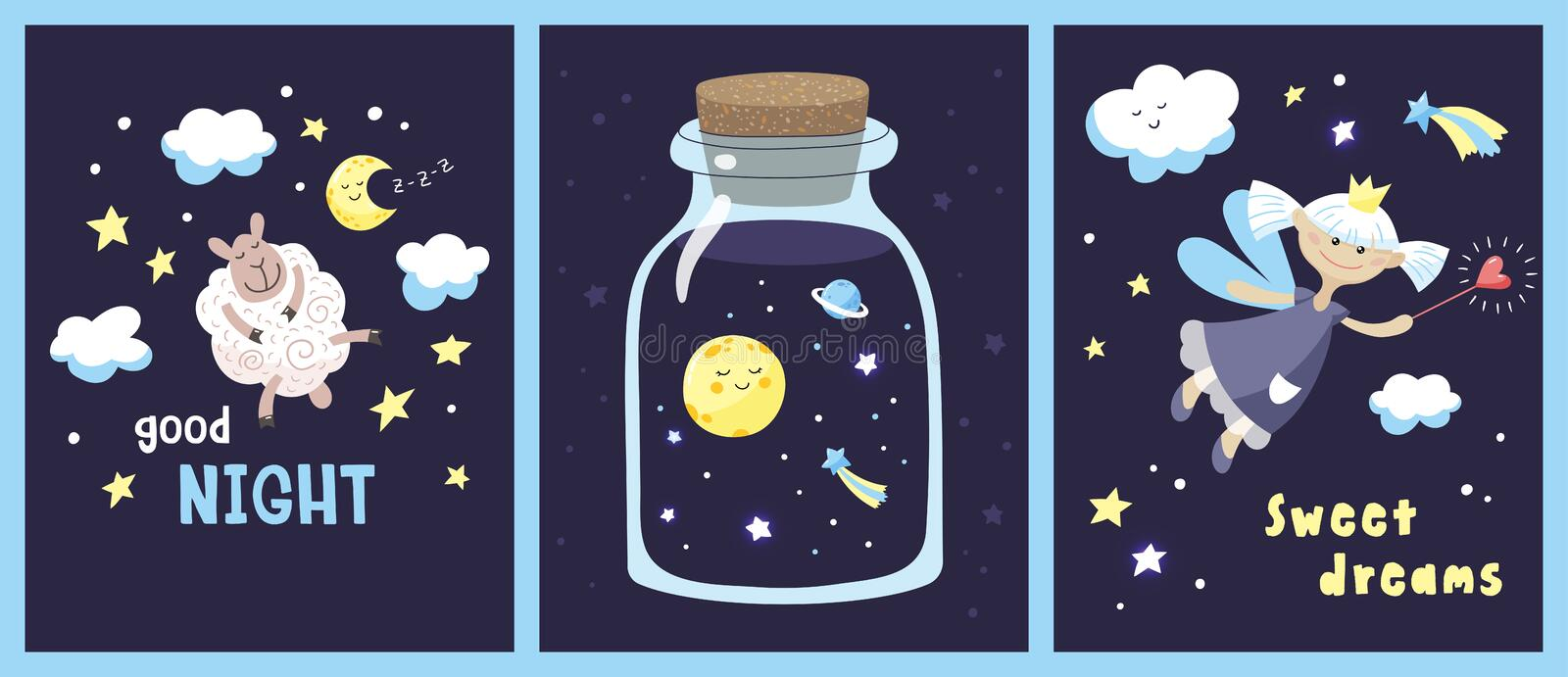 Set of cards with cute cartoon characters and inscriptions in the starry night sky. royalty free stock photos