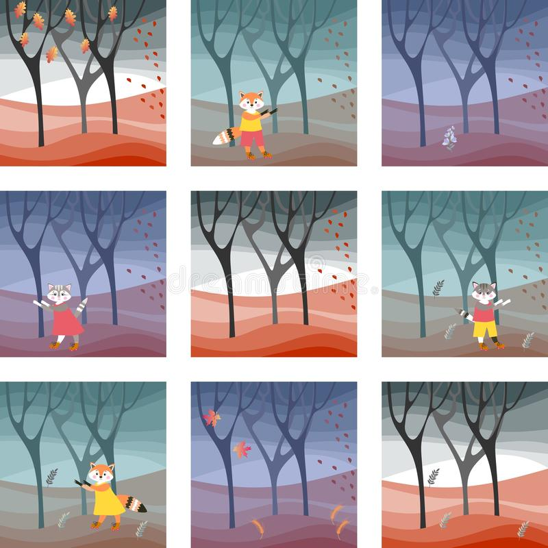 Set of cards with cute cats and foxes in the autumn forest vector illustration