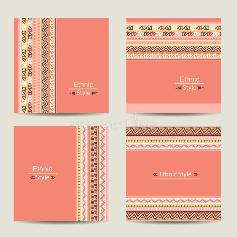 Set of cards with ethnic design. vector illustration