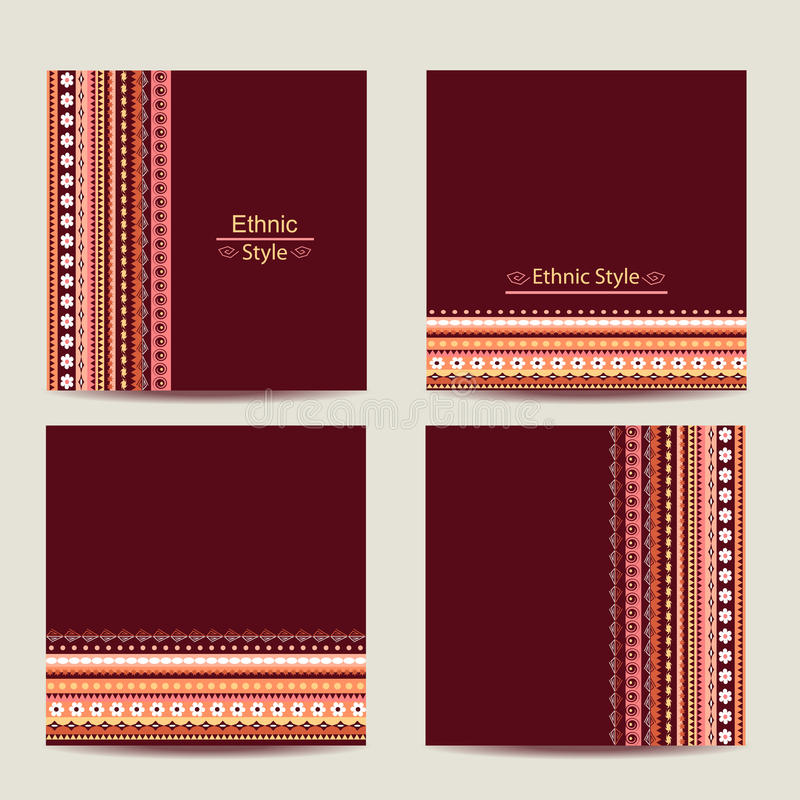 Set of cards with ethnic design. Geometric royalty free illustration