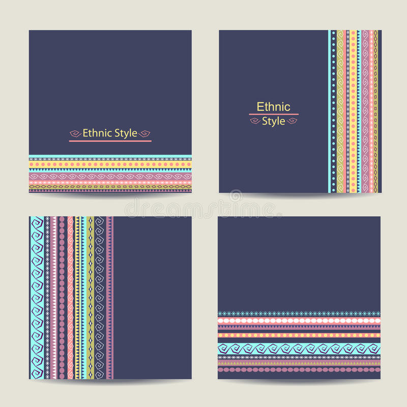 Set of cards with ethnic design. Geometric vector illustration