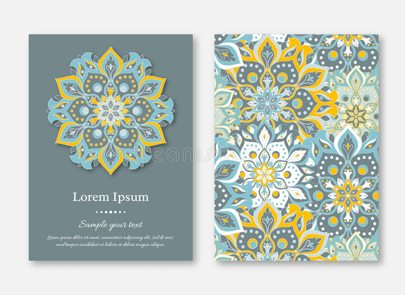 Set of cards, flyers, brochures, templates with hand drawn mandala pattern. Vintage oriental style. royalty free illustration
