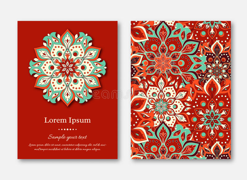 Set of cards, flyers, brochures, templates with hand drawn mandala pattern. Vintage oriental style. stock illustration