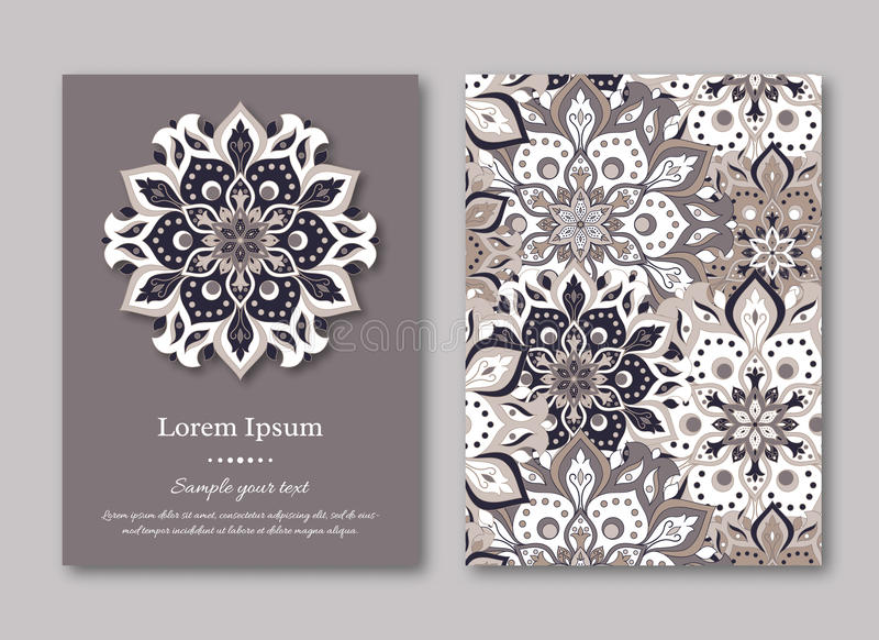 Set of cards, flyers, brochures, templates with hand drawn mandala pattern. Vintage oriental style. Indian, asian, arabic, islamic, ottoman motif. Vector royalty free illustration