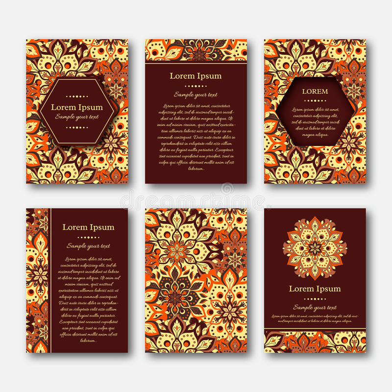Set Of Cards Flyers Brochures Templates With Hand Drawn Manda - Brochures templates