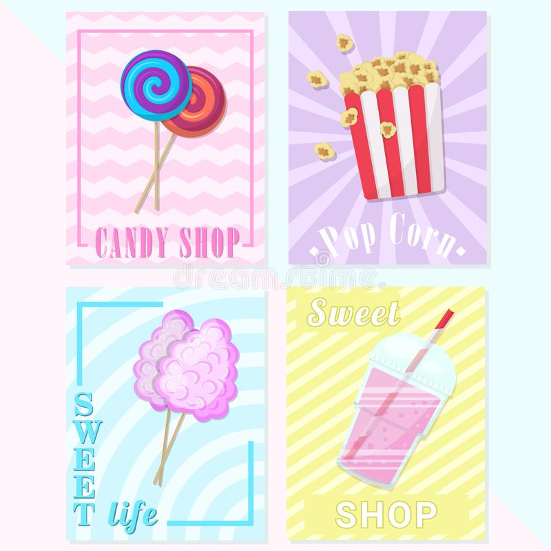 A set of cards, flyers for a children`s menu or the candy store. Banners with candies,smoothies, popcorn and cotton vector illustration