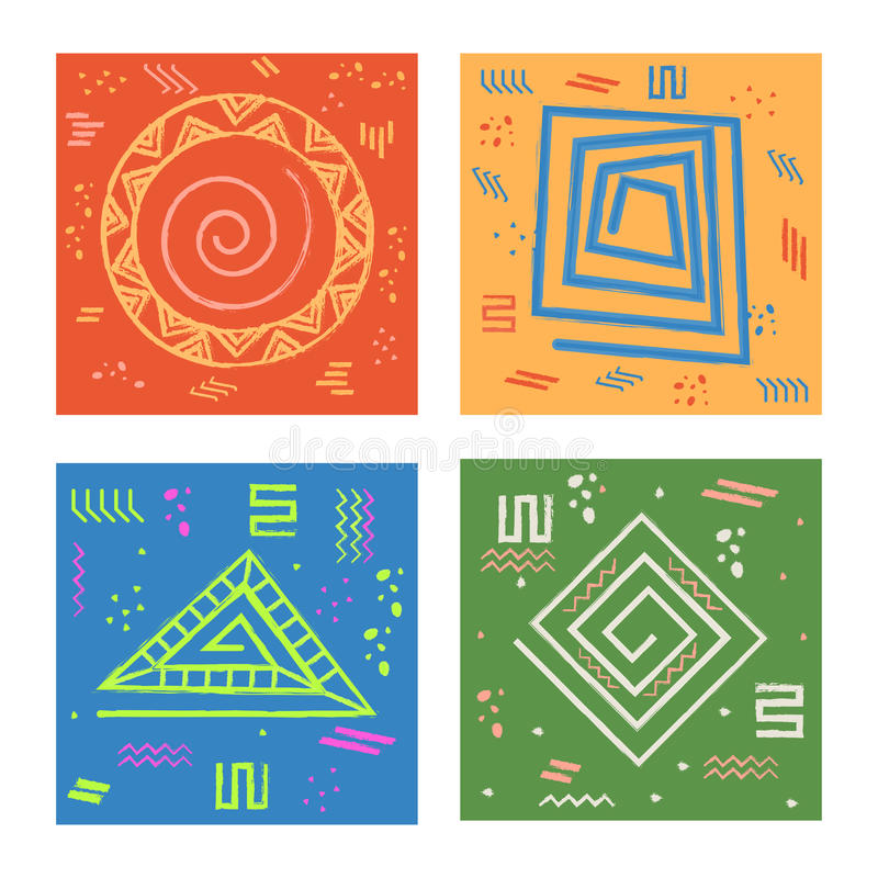 Set of cards with geometric abstract pattern. vector illustration