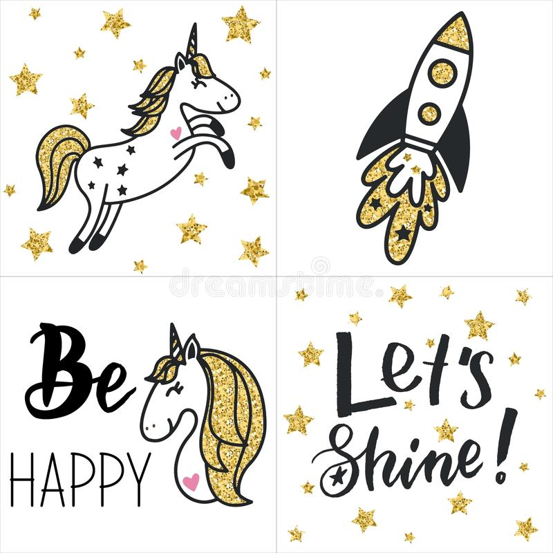 Set of cards with gold glittering unicorns, rocket, text, stars. royalty free illustration