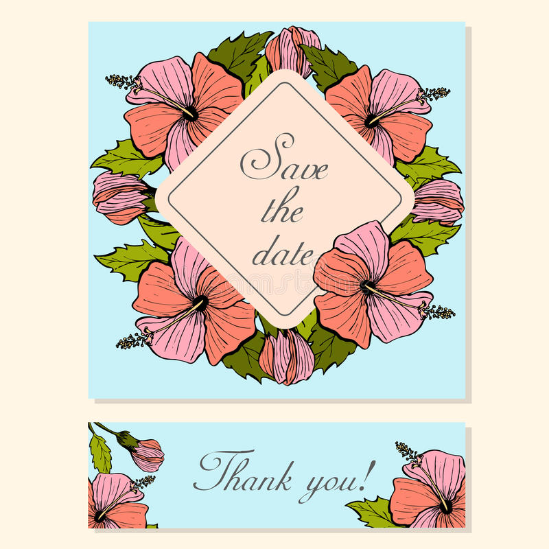 Set of Cards with Hibiscus Floral Motifs royalty free illustration