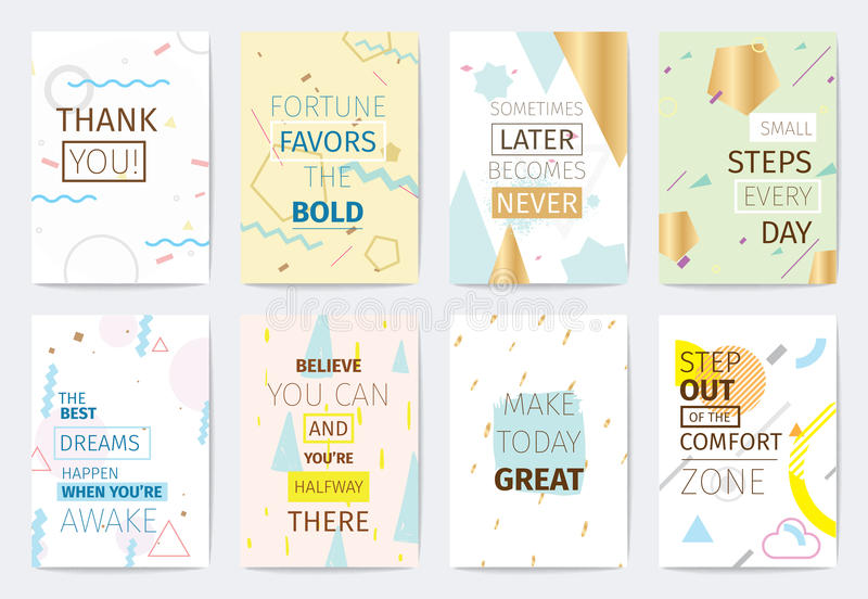 Set of cards with inspirational quotes. stock illustration