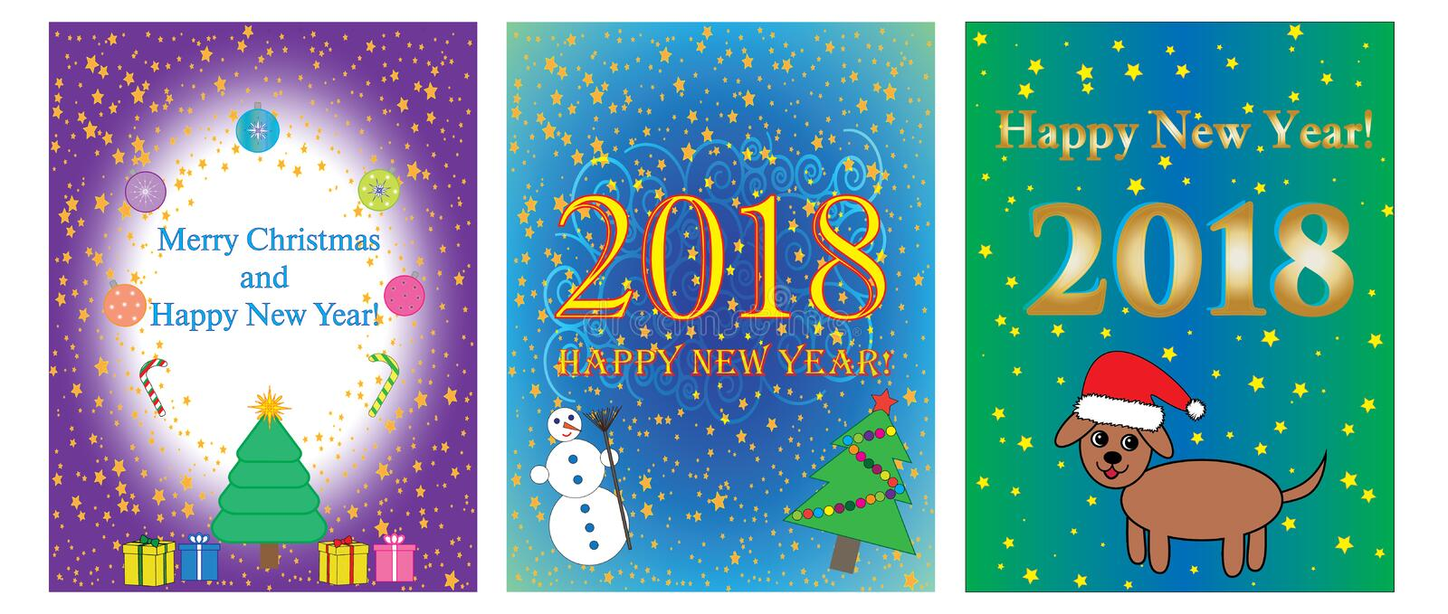 Set of cards of New year 2018 and Christmas, vector. Set of cards of New year 2018 and Christmas, vector stock illustration