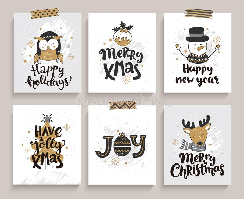 Set of cards for new year and christmas. stock illustration
