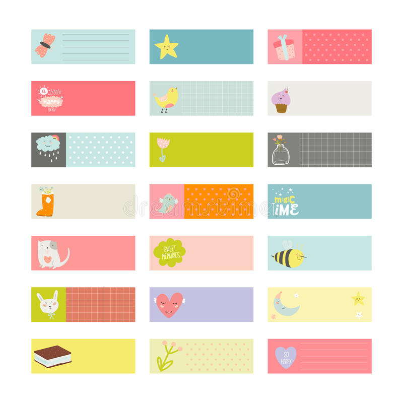 Set of cards, notes and stickers with cute vector illustration